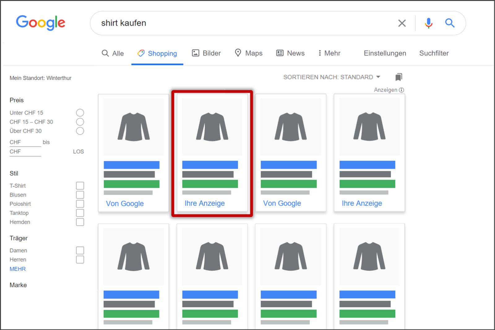 Google Shopping Seite- My Online Markting Copy
