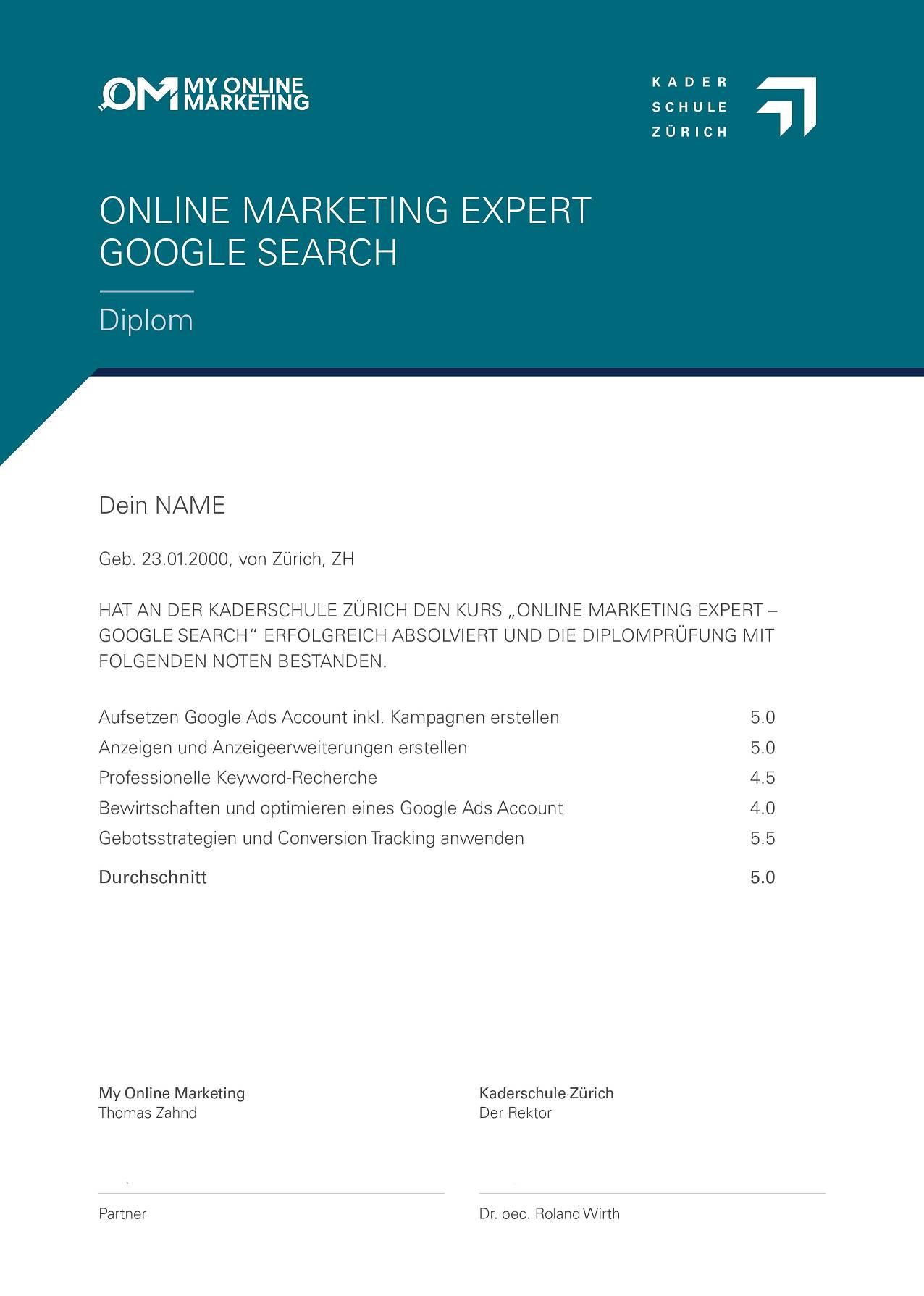 Ultimativer Google Ads Kurs- Diplom Kaderschule - My Online Marketing